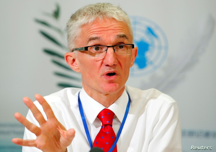 Mark Lowcock, United Nations Under-Secretary-General for Humanitarian Affairs and Emergency Relief Coordinator (OCHA) attends a news conference in Geneva, Switzerland, April 26, 2018.