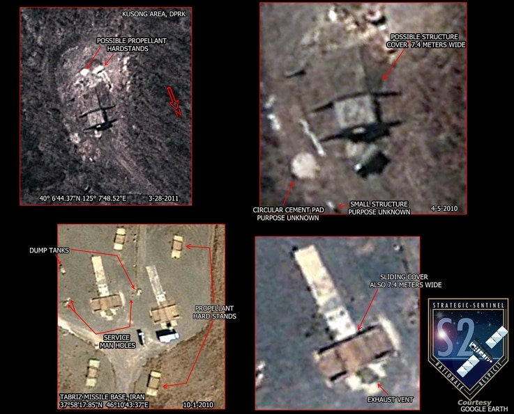 Satellite imagery of North Korea's Geunmchang-ri, North Pyongan Province, shows a structure that appears to be a missile silo similar to one in a missile base in Tabriz, Iran. (Strategic Sentinel)