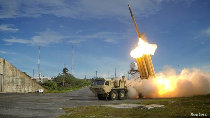 FILE - A Terminal High Altitude Area Defense (THAAD) interceptor is launched during a successful intercept test, in this undated photo provided by the U.S. Department of Defense, Missile Defense Agency.