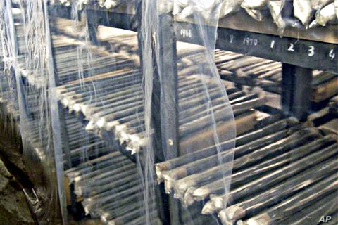 FILE - Unused nuclear fuel rods are piled on the shelves of a warehouse at North Korea's main nuclear plant in Yongbyon, North Korea.