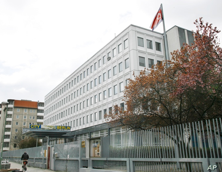 A view of a building on the compound of the North Korean embassy in Berlin, Germany, April 3, 2008, which became an international backpacker hostel.