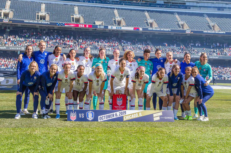 Oct 6, 2019; Chicago, IL, USA; The United States Women's National team pose for a team starting 11 photo before the USA Women's…