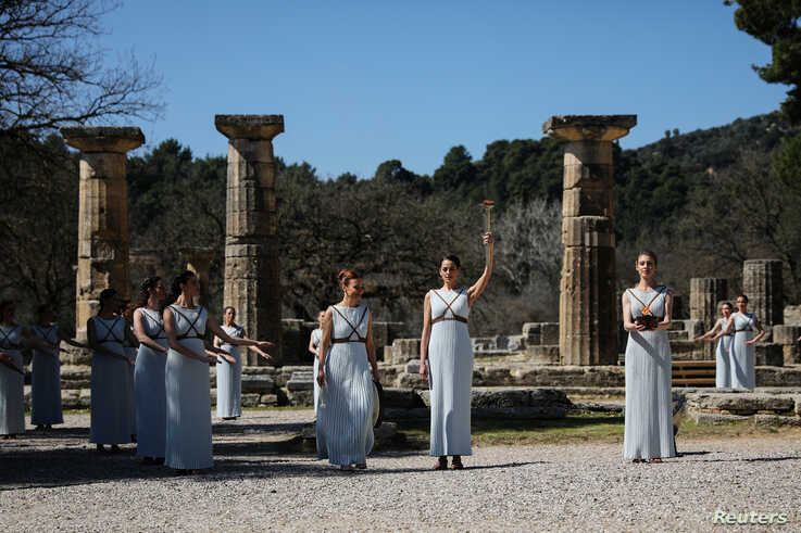 Olympics - Lighting ceremony of the Olympic flame for Tokyo 2020 - Ancient Olympia, Olympia, Greece - March 12, 2020   Greek…