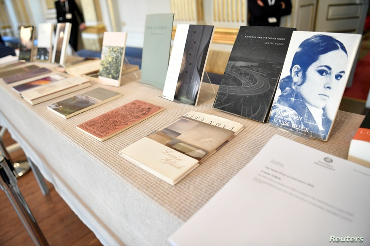 Books of American poet Louise Gluck during the announcement of 2020 Nobel Prize in literature at Borshuset in Stockholm,…