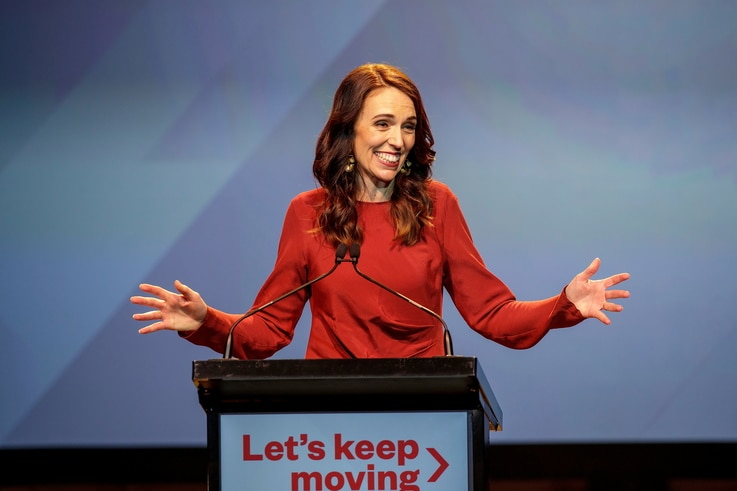 New Zealand Prime Minister Jacinda Ardern speaks at the Labour Party election night event in Auckland, New Zealand, October 17,…