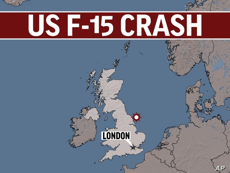 UK shaded relief map, highlighted, with London locator, lettering US F-15 CRASH, finished graphic