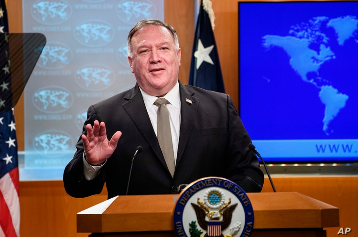 Secretary of State Mike Pompeo speaks during a news conference at the State Department in Washington, Wednesday, Sept. 2, 2020…