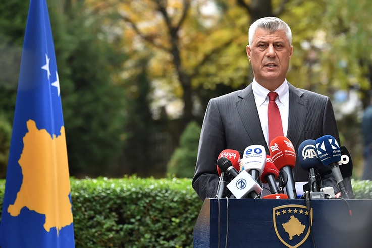 Kosovo president Hashim Thaci addresses the nation as he announced his resignation to face war crimes charges in Kosovo capital…