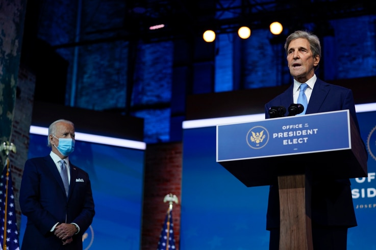 President-elect Joe Biden's climate envoy nominee former Secretary of State John Kerry speaks at The Queen theater, Tuesday,…