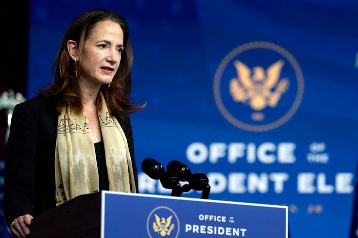 President-elect Joe Biden's Director of National Intelligence nominee Avril Haines speaks at The Queen theater, Tuesday, Nov…