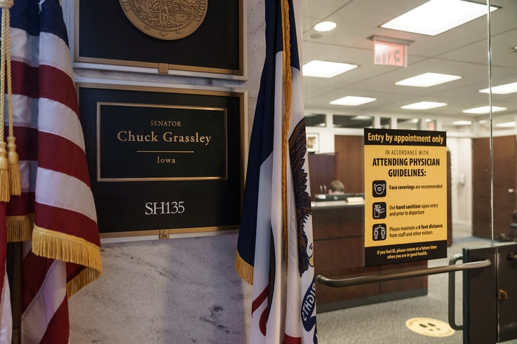 The office of Sen. Chuck Grassley, R-Iowa, the president pro tempore of the Senate, is seen on Capitol Hill in Washington,…