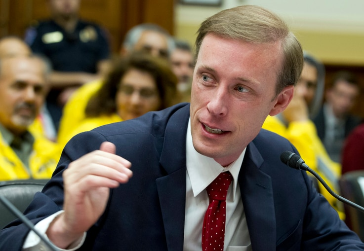 Former State Department Director of Policy Planning Jake Sullivan speaks during a hearing on Iran before the House Foreign…