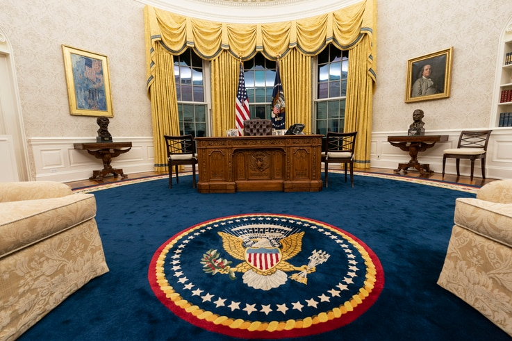 The Oval Office of the White House is newly redecorated for the first day of President Joe Biden's administration, Wednesday,…