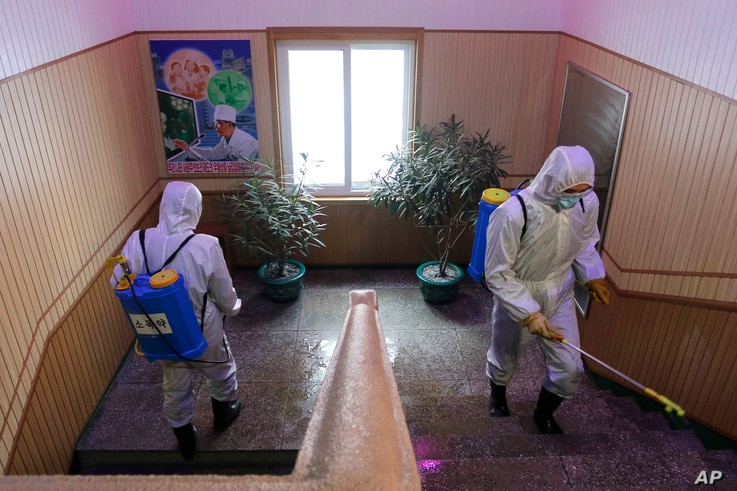Officials of the Hygienic and Anti-epidemic Center in Phyongchon District disinfect a corridor of a building in Pyongyang,…