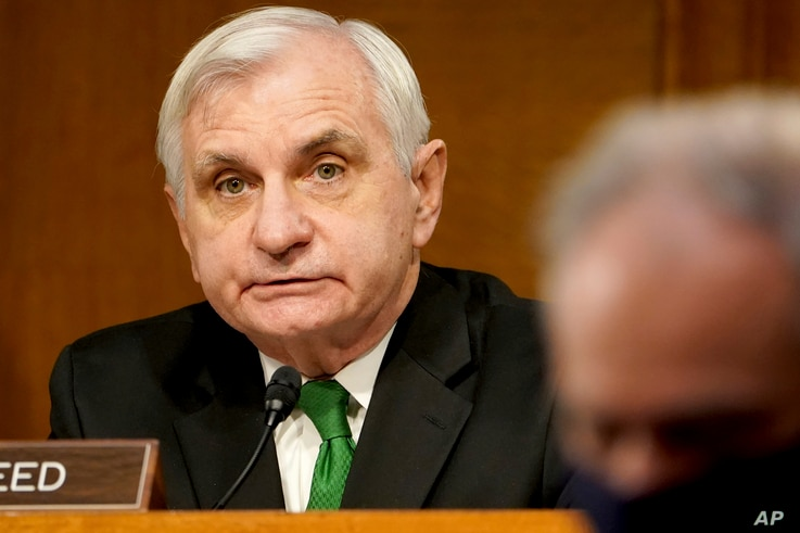 Sen. Jack Reed, D-R.I., gives opening remarks during a confirmation hearing for Secretary of Defense nominee Lloyd Austin, a…