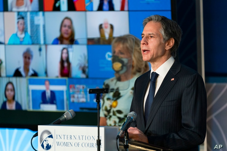 Secretary of State Antony Blinken speaks at the 2021 International Women of Courage (IWOC) Award virtual ceremony attended by…