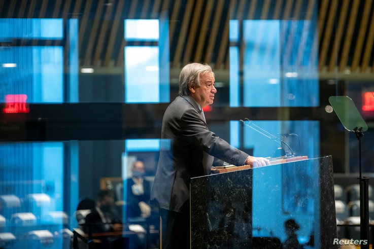 United Nations Secretary General Antonio Guterres speaks during the 75th annual U.N. General Assembly