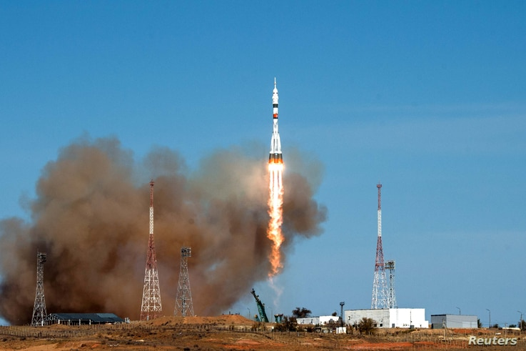 Soyuz MS-17 spacecraft carrying ISS crew blasts off from the launchpad at the Baikonur Cosmodrome