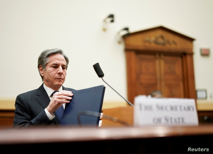 U.S. Secretary of State Blinken attends a House Foreign Affairs Committee hearing in Washington