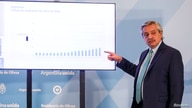Argentina's President Alberto Fernandez points at a graphic during a news conference to announce an extension of the lockdown…