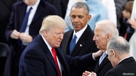 Donald Trump greets Sen. Chuck Schumer (D-NY) and former Vice President Joe Biden as former U.S. President Barack Obama looks…