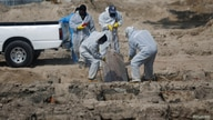 Cemetery workers bury the coffin of a person who died of the coronavirus disease (COVID-19), as the outbreak continues, at La…