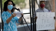 Rushan Abbas, Executive Director of Campaign for Uyghurs, speaks to a group gathered near the White House to call on the U.S…