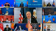 This image taken from video provided by VTV shows U.S. Secretary of State Mike Pompeo speaking during an online meeting with…