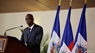 Haiti's President Jovenel Moise speaks during the investiture ceremony of the independent advisory committee for the drafting…