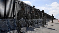 Army engineers install concertina wire on the Anzalduas International Bridge, as Northern Command provides military support to…