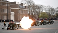 Members of the King's Troop Royal Horse Artillery fire a 41-round gun salute at Woolwich Barracks, to mark the death of Prince…