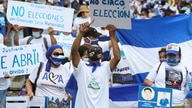 Nicaraguan expats living in Costa Rica hold a march to mark the third anniversary of the protests against Nicaragua's President…