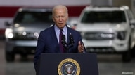 U.S. President Joe Biden delivers remarks after touring Ford Rouge Electric Vehicle Center in Dearborn, Michigan, U.S., May 18,…