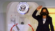 U.S. Vice President Kamala Harris disembarks from Air Force Two as she arrives at Benito Juarez International airport in Mexico…