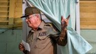 (FILES) In this file photo taken on April 19, 2015, Cuban Vice-minister of Army Alvaro Lopez Miera casts his vote at a polling…