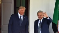 US President Donald Trump (L) welcomes Mexican President Andres Manuel Lopez Obrador to the White House on July 8, 2020, in…