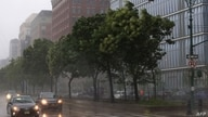 NEW YORK, NEW YORK - AUGUST 04: Heavy rain falls on the West Side Highway as Tropical Storm Isaias bears down on the Northeast…