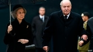 (FILES) In this file photo taken on May 04, 2019 Queen Sofia of Spain (L) and Spain´s former King Juan Carlos I (R) arrive for…