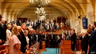 US Secretary of State Mike Pompeo (right behind podium) attends a meeting of the Czech Senate in Prague, Czech Republic, on…