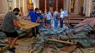 A picture shows destruction inside the Saint George Maronite Church on August 5, 2020 in the aftermath of a massive explosion…