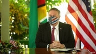 US Secretary of State Mike Pompeo participates in the Growth in America Agreement Signing Ceremony, in Georgetown on September…