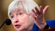 (FILES) In this file photo former Federal Reserve Chairman Janet Yellen speaks during a hearing of the Joint Economic Committee…