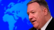 (FILES) In this file photo taken on March 25, 2020, US Secretary of State Mike Pompeo speaks during a press conference at the…