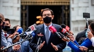 (FILES) In this file photo taken on December 01, 2020 former Peruvian President Martin Vizcarra speaks to the press after…