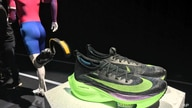 FILE - In this Feb. 5, 2020 photo, Nike's Air Zoom Alphafly Next% running shoe is displayed at the Nike 2020 Forum in New York…