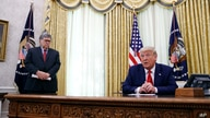 President Donald Trump speaks alongside Attorney General William Barr during a a law enforcement briefing on the MS-13 gang in…