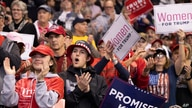 Supporters cheer as President Donald Trump speaks during a campaign rally, Monday, Feb. 10, 2020, in Manchester, N.H. (AP Photo…