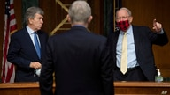 Senator Roy Blunt, R-Mo., and Sen. Lamar Alexander, R-Tenn., speak with Dr. Francis Collins, Director of the National…