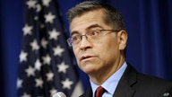 FILE - In this Dec. 4, 2019 file photo, California Attorney General Xavier Becerra speaks a news conference in Sacramento,…