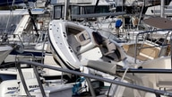 Boats are piled on each other at the Southport Marina following the effects of Hurricane Isaias in Southport, N.C., Tuesday,…